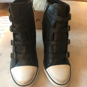 0865b37f31ce Ash Shoes - Ash Thelma Black Leather Wedge Sneakers NWT Sz 40